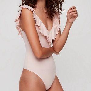 Aritzia Wilfred Danette Frill VNeck Bodysuit Pink